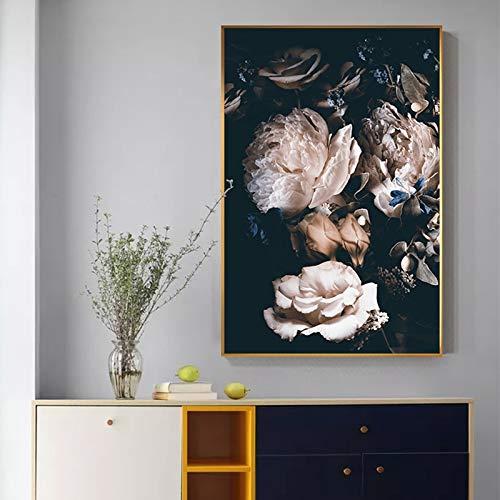 Sanzangtang Decoratie modulaire afbeelding schilderij Nordic Print moderne stijl roze roze bloem linnen poster woonkamer kunst zonder lijsting