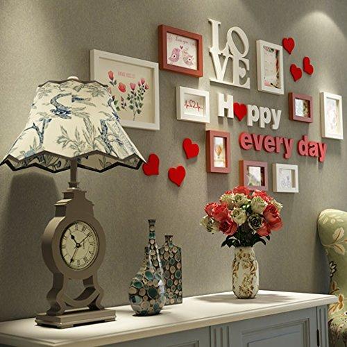 Dongyd 9 Teile/Satz Collage Fotorahmen, Vintage Bilderrahmen, Porta Retrato Moldura, Familienbilderrahmenwand, Hochzeitsfotorahmen (Color : B)