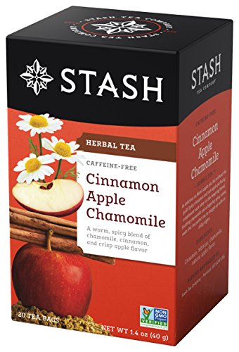 Stash Tea Cinnamon Apple Chamomile Herbal Tea 20 Count Tea Bags in Foil Pack of 6 Individual Spiced Herbal Tea Bags for Use in Teapots Mugs or Teacups Brew Hot Tea or Iced Tea