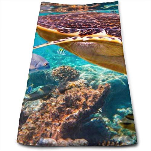 Toalla de Playa Suave de poliéster de Tortuga de Vida Silvestre Toalla de baño Absorbente de Secado rápido Toalla de baño esponjosa para Hombre, Mujer, Adultos y niños