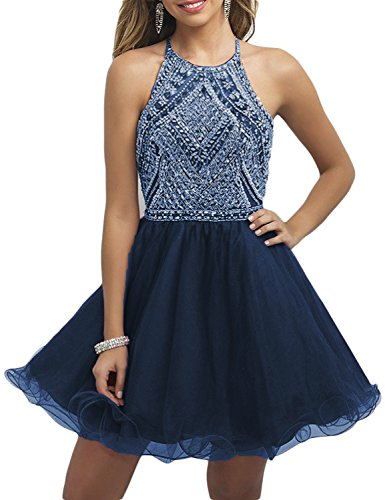 OYISHA Sparkly Beading Short Junior Prom Homecoming Dresses 2020 Teen Formal Party Gown Navy Blue 2