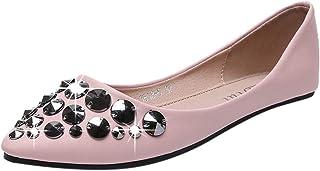 Flats Shoes Shusuen Women– Slip-on Ballet Comfort Walking Classic Pointy Toe Vintage Rivet Shoes