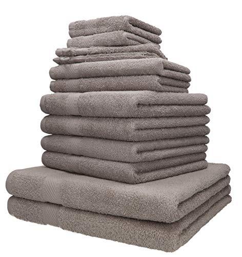 Betz 12-TLG. Handtuch-Set Palermo 100% Baumwolle 2 Liegetücher 4 Handtücher 2 Gästetücher 2 Seiftücher 2 Waschhandschuhe Farbe Stone