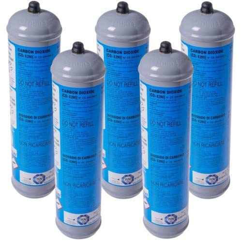 5 BOMBOLE CO2 USA E GETTA 600 Grammi E290 ALIMENTARE PER GASATORI ACQUA ATTACCO 11 x 1 DIMENSIONI.BOMBOLA DN 70 MM H 325 MM