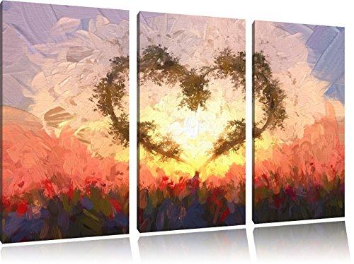 Pixxprint Herz aus Bambus Kunst / 3-Teilig/Gesamtmaß 120cm Leinwandbild bespannt auf Holzrahmen/Wandbild Kunstdruck Dekoration