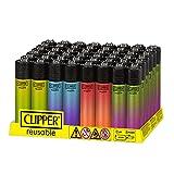 Pack de Clipper 48 Mecheros Encendedores Liso Gradientes Degradados CP11RH Nuevo Y 1 Llavero Hibron Gratis(Crystal Gradient)