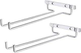 Wine Glass Rack Wall Mounted Set of 2, BOOKZON Stemware Rack, Wine Glasses Holder Storage Hanger Organizer Metal for Cabinet Kitchen or Bar (no glasses included) (Silver) ¡