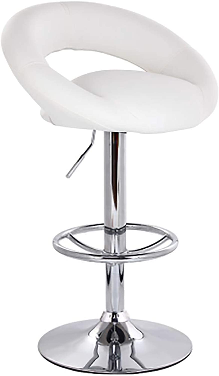 Quality Kitchen Breakfast Bar Stools Bar Stool Made of Artificial Leather, stools with Handle Height Adjustment (color   White)