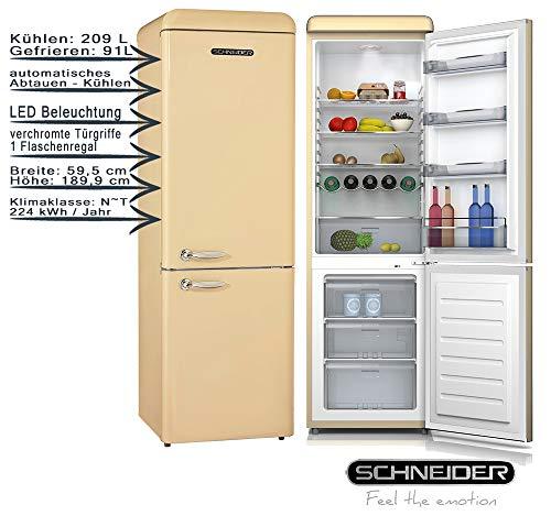 Schneider Retro Kühl-Gefrierkombination SCB300V2CR Creme Glänzend 300 Liter 189,9 cm EEK: A++
