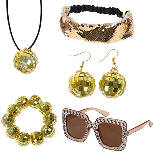 Omigga 5 Pieces 1970s Disco Accessories Disco Set Ball Earrings Necklace BraceletBling Headband and Sunglasses for Women, Gold