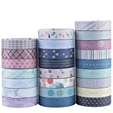 Yubbaex Washi Tape Set cinta adhesiva decorativa Washi Glitter Adhesivo de Cinta Decorativa para DIY Crafts Scrapbooking 24 Rollos