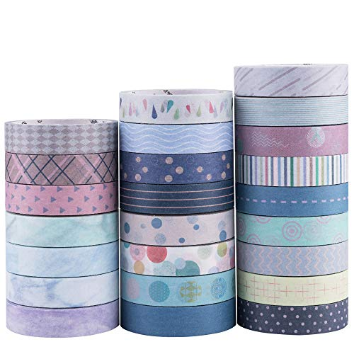 Yubbaex Washi Tape Set cinta adhesiva decorativa Washi Glitter Adhesivo de Cinta Decorativa para DIY Crafts Scrapbooking 24 Rollos