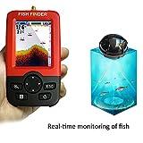 Lifesongs Fischfinder, kabellos und wiederaufladbar, mit Sonarsensor und LCD-Display, tragbar, Tiefenbereich bis zu 45 m