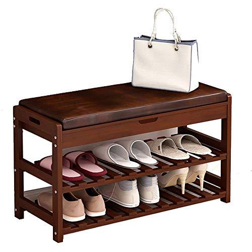 Banco de almacenamiento de zapatos Zapatero de madera Entrada de almacenamiento de zapatos Estante del hogar Banco de zapatos con cojín Pasillo Dormitorio Muebles de sala de estar (Color, Tamaño: 73.