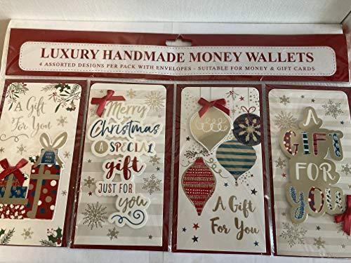 4X Christmas Money Wallets+Envelopes Traditional Presents/Words/Baubles Ribbon/3D/Foil Detail (BGC-46367)