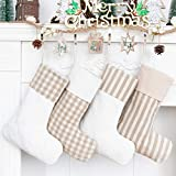 LUBOTS Set of 4 Christmas Stocking(20inch) Plaid/Rustic/Farmhouse/Country Dog Stocking Fireplace Hanging Handmade Xmas Stockings Decorations for Family Holiday Season Decor Fresh