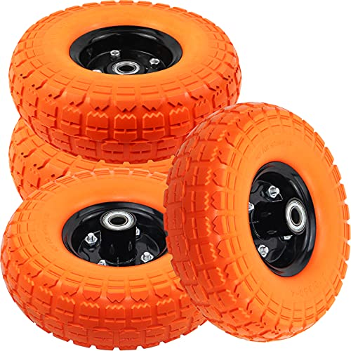 10' Flat Free Tires Solid Rubber Tyre Wheels,4.10/3.5-4 Air Less Tires Wheels with 5/8' Center...