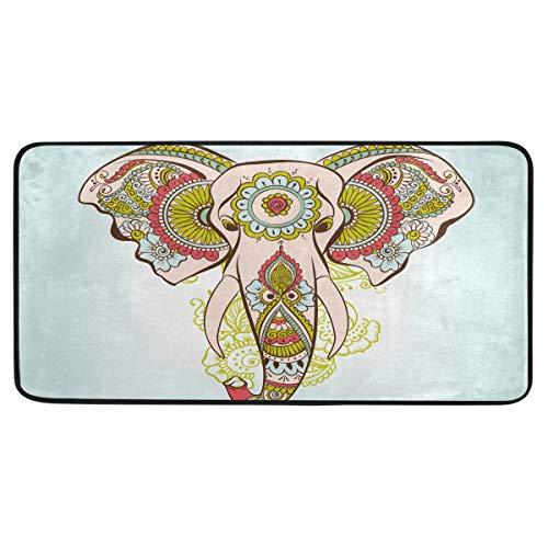 Rulyy Teppich mit Elefanten-Motiv, rutschfest, weich, saugfähig, Fußdecke für Wohnzimmer, Esszimmer, Eingangsbereich, 99 x 51 cm