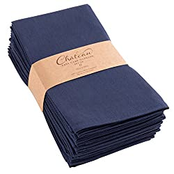 Image of KAF Home Chateau Easy-Care Cloth Dinner Napkins - Set of 12 Oversized (20 x 20 inches) - Navy Blue: Bestviewsreviews