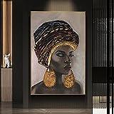 DASHBIG Cuadros decoración Pintura al óleo de Mujer Negra étnica Marrón Dorado Chica Africana Póster de Arte de Pared Impresión de Lienzo Sala de Estar de Dormitorio | 50x70cm Sin Marco