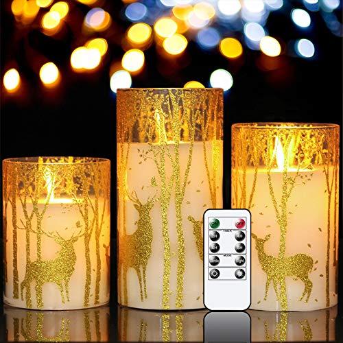 GenSwin Flammenlose Kerzen mit Elch-Dekor Art Deco Beweglicher Docht Hirsch