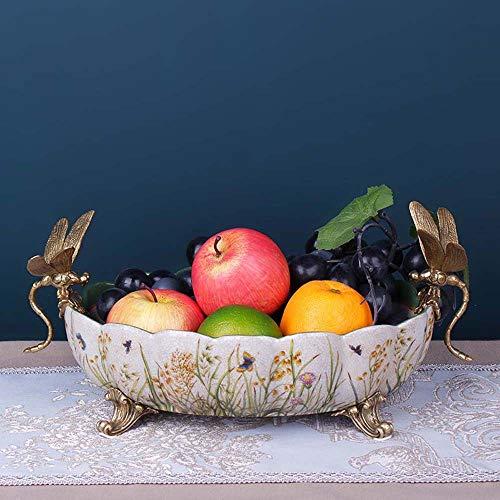 Sebasty Ornamente Amerikanisches Kreativ, Keramik, Kupfer Obstteller Zubehör Nach Hause Raum Obstschale Porzellan Weich Läden Showroom Verzierungen 38 * 21 * 16cm Lebt