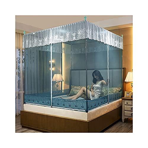 DSMGLRBGZ Mosquitera Cama Tela Dosel con Marco - 3 Apertura - Plegable para Cama de 1,2 M - 2,0 M Cama - Chicas & Adultos Twin a King Size Bed,Azul,2.0m Bed