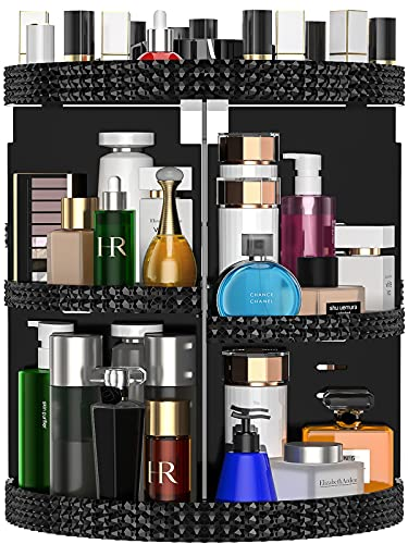 Awenia Makeup Organizer 360-Degree Rotating, Adjustable Makeup Storage, 7 Layers Large Capacity Cosmetic Storage Unit, Fits Different Types of Cosmetics and Accessories, Plus Size (Black)