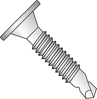 """410 Stainless Steel Self-Drilling Screw, Plain Finish, Wafer Head, Phillips Drive, #3 Drill Point, #10-24 Thread Size, 1-1/2"""" Length (Pack of 25)"""