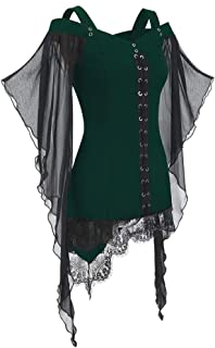 Women Gothic Criss Cross Lace Insert Butterfly Sleeve T-Shirt Plus Size Tops Witch Costume Halloween Cosplay Costumes