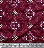 Soimoi Rot Baumwoll-Voile Stoff Damast ethnisch gedruckt