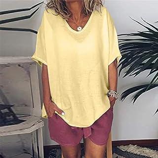 Women T Shirt Short Sleeve Plus Size Shirt Loose Cotton Linen Tee Shirt Streetwear