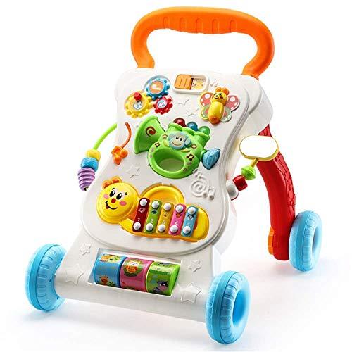WJSW Baby Walker mit Rädern und Activity Game Center Sit-to-Stand Lernwagen Lauflernwagen Kleinkind Spielzeug Auto mit Musik Licht Abnehmbare Instrumenten,orange