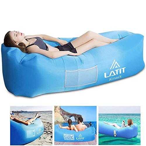 LATIT Luftsofa Luftsack,Wasserdichter Aufblasbares Sofa Air Lounger, Aufblasbare Liege,tragbares Aufblasbarer Sitzsack Mit Tragebeutel,ideal für Camping,Strand,Outdoor