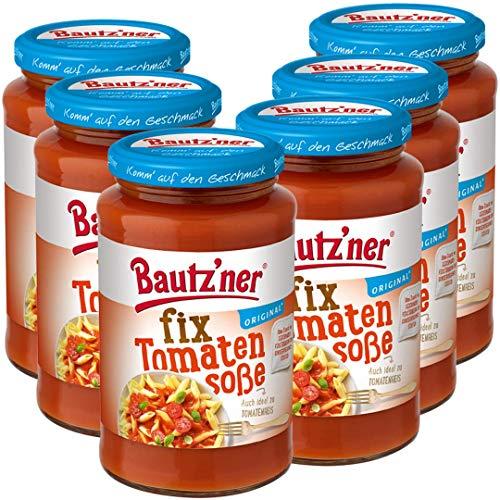 Bautz'ner Fix Tomaten Soße, 6er Pack. 6*400ml Glas, fertige Tomaten-Soße