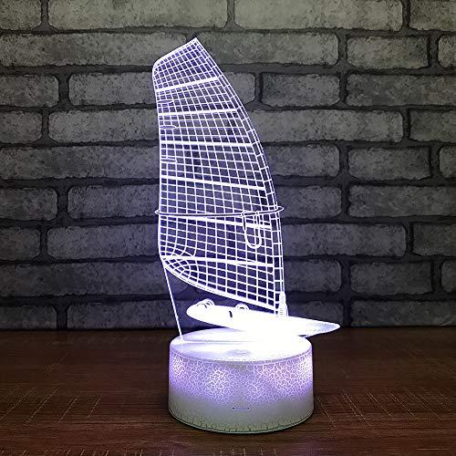 Smart Home 3d Night Light Lampe de chevet de bateau créatif Chambre à coucher spéciale Petits luminaires 3d