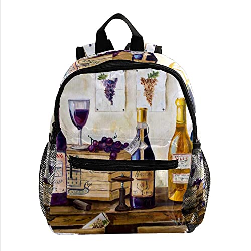 Liangbaiwan Mochila escolar para niñas niños mochila informal bolsa de viaje para senderismo Bodegón de botellas de vino y toronja. con múltiples bolsillos