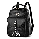 DOODOO レディース リュック ミニ バックパック PUレザー ポシェット Mini Rucksack Bag for Women ブラック V1 [並行輸入品]