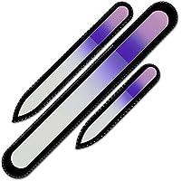 Mont Bleu Conjunto de 3 limas de uñas de cristal de color en estuche de terciopelo negro, vidrio templado checo auténtico, Garantía de por vida   Fabricado a mano en la República Checa