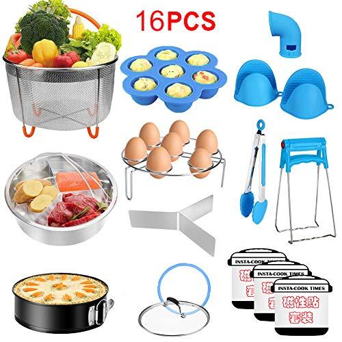 omufipw Instant Pop olla a presión accesorios Set para Instant Pot 6,8 Qt Steamer cestas Springform Pan Egg Steamer Rack 16pcs azul