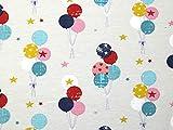 Minerva Crafts Jersey-Stoff mit Luftballons, cremefarben,