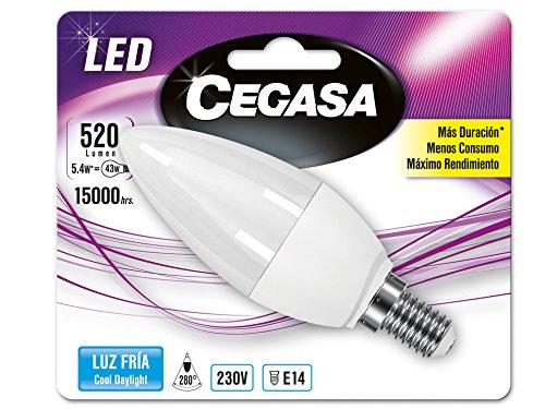 Cegasa Bombillas LED 5000K E14, 5.4 W, Blanco, 110x38x38 cm