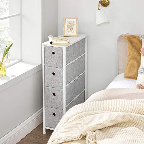 SONGMICS Narrow Dresser with 4 Fabric Drawers Vertical Slim Storage Tower Unit, 7.9', Light Gray