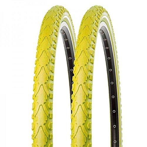 2x Kenda Fahrrad Semislick Reifen Khan K-935 40-622 28x1.5 Draht gelb reflex