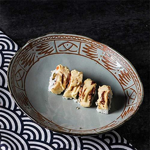 LIXUE Plateau en céramique surdimensionné Plateau de poisson Poisson de fruits de mer King Crab Dish Cuisine japonaise Assiette de poisson grillé (Color : A)