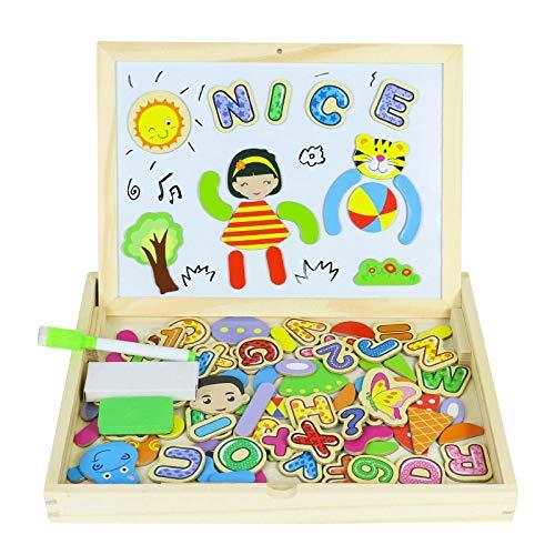 Tablero de Dibujo Magnético Puzzles Rompecabezas Lateral Doble de Madera para Niños de más de 3 Años (90+ Piezas)