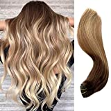 Ombre Human Hair Weft Sew in Hair Extensions Brown to Golden Brown with Strawberry Blonde Highlights Human Hair Weaves Extensions Double Wefted Straight Remy Weft Hair 18 Inch 100G/Bundle for Women