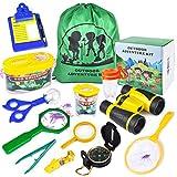 HONKID Draussen Forscherset, Kinder Fernglas Spielzeug Set, 20 Stück Abenteuerspielzeug mit Kompass, Fernglas, Becherlupe, Insektenzange, Lupendose, Camping Wander Geschenk für Kinder