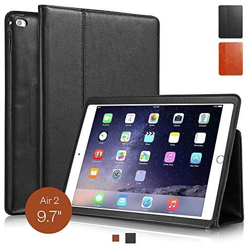 KAVAJ de Cuero Bolsa Funda Berlín para el iPad Air 2 de Apple, Cuero Negro función Soporte
