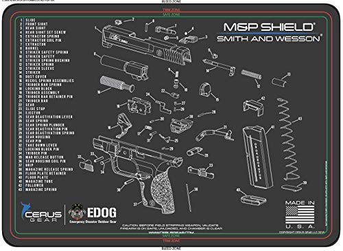 EDOG Smith & Wesso M&P Shield Cerus Gear Schematic (Exploded View) Heavy Duty Pistol Cleaning 12x17 Padded Gun-Work Surface Protector Mat Solvent & Oil Resistant